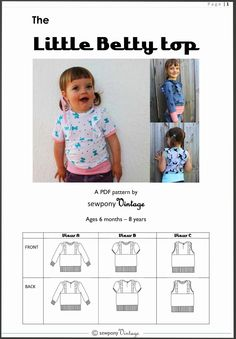 sewpony: PATTERN RELEASE & DISCOUNT: The Little Betty top