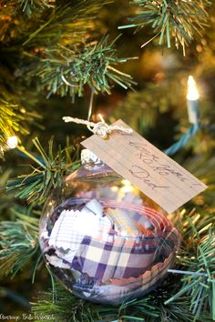 Learn how to make DIY Memorial Ornaments to help honor and remember loved ones who have passed. This project uses a loved one's old clothes and handwriting to create a Christmas ornament that will be cherished by anyone who is missing their loved one. Christmas Mom, Diy Christmas Ornaments, How To Make Ornaments, Homemade Christmas, Holiday Crafts, Christmas Bulbs, Christmas Decorations, Christmas Ideas, Holiday Ideas