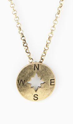 Gold Compass Pendant Necklace