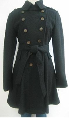 Guess Belted Wool Coat Jacket Black Large Mh449 *** Want to know more, click on the image.(This is an Amazon affiliate link)