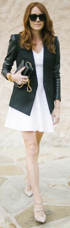 Helmut Lang Black Contrast Leather Sleeves Tailored Blazer by Could I Have That ?