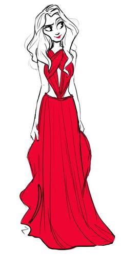 red dress sketch! based on this picture: