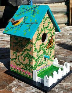 Bird House Kits Make Great Bird Houses Painted Birdhouses, Birdhouse Craft, Birdhouse Designs, Bird Houses Painted, Decorative Bird Houses, Bird Houses Diy, Birdhouse Ideas, Mobiles, Homemade Bird Houses
