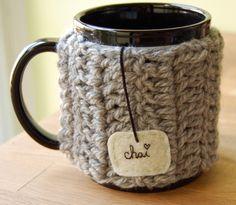 Personalize Chai Love Mug Cozy Crochet Light Grey Tea Cup Cosy - Made to Order. $16.00, via Etsy.