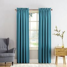 Sun Zero Gramercy Room Darkening Curtain, Blue