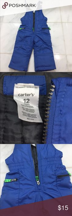 Carters snow pants EUC Snow pants. Carters attached the clip wrong (see photo) so the strap will twist. Maybe able to fix but it didn't bother me. Smoke free home Carter's Other