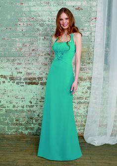Chiffon A-line halter style bridesmaids dress with empire waist detailing $144