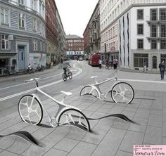 Found this fun idea for bike racks!