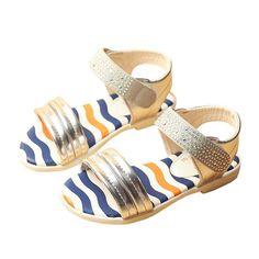 352649995a5901 2016 New kids sandals flat heels girls sandals with rhinestone fashion summer  children beach sandals for girls