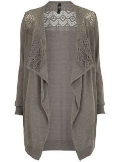 Cosy up against the winter chill with a charming knit... Evans Grey Pointelle Waterfall Cardigan - www.evans.co.uk