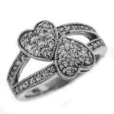 0.75 Cttw G VS Round Cut Diamonds Two Hearts Cocktail Ring in 14K White Gold by GetDiamondsDirect on Etsy