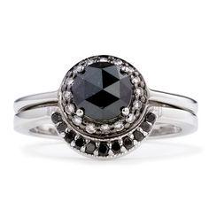 Rosette & Crescent Bridal Set - black and white diamond, wedding band, white gold, bridal set