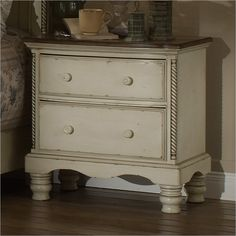 Hillsdale Wilshire Nightstand Antique White with Pine Top $301.72