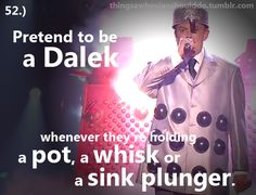 Things a Whovian should do: Pretend to be a Dalek whenever they're holding a pot, a whisk or a sink plunger.
