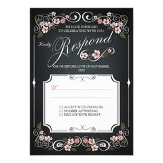 Floral Chalkboard Vintage Bold Wedding RSVP Personalized Invites  | Visit the Zazzle Site for More: http://www.zazzle.com/?rf=238228028496470081