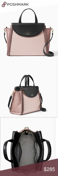 """New $428 KATE SPADE Purse Cobble Hill Large Bag BRAND NEW WITH $428 TAGS ATTACHED.  Bought from KATE SPADE COBBLE HILL ADRIEN  $428 NEW COMES WITH DUST BAG & STRAP. LARGE HAND BAG.  10.1""""h x 13.3""""w x 5.9""""d  Drop length: 4.5"""" handle, 36"""" adjustable strap  Soft peppled leather Style# pxru6469  Exterior flap pockets, interior zip and double slide pockets  Imported Perfect for Mothers Day gift. Colors: Rose Cloud/Black/Porcini Not sure if it's considered Satchel or Cross body because it can be…"""