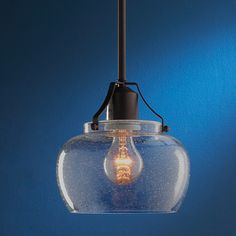 Modern Industrial Glass Pendant -- seeded glass