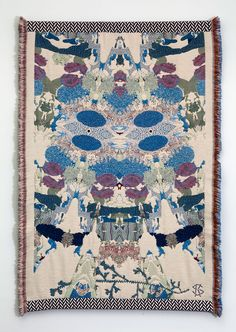 Finnish designer & artist Kustaa Saksi manufactured the collection, called Hypnopompic, using the Jacquard weaving technique. The weavings are made of mohair, alpaca wool, cotton and metallic acrylic thread.
