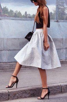 crop top. midi full silver skirt. chic on street.