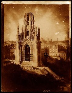 The Scott Monument under construction, 1844. Photograph by David Octavius Hill and Robert Adamson (University of Glasgow Library, Special Collections)