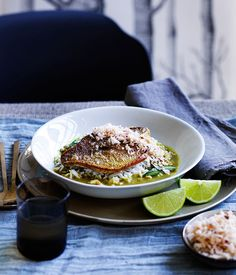 Australian Gourmet Traveller recipe for fish curry with coconut sambal by Flying Fish restaurant in Sydney.