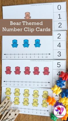 Free Bear Addition and Subtraction Clip Cards - 10 clip cards that work on numbers from 1 to 10 with counting and a number line - 3Dinosaurs.com #3dinosaurs #clipcards #counting #numbersforkids #kindergarten #prek #freeprintable Math For Kids, Fun Math, Learning Numbers Preschool, Teaching Math, Pre K Activities, Number Activities, Counting Bears, Numbers For Kids, Addition And Subtraction