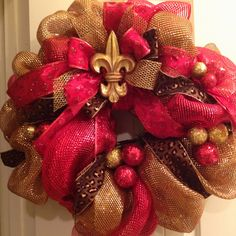 Red/Gold Poly Deco Mesh Christmas Wreath