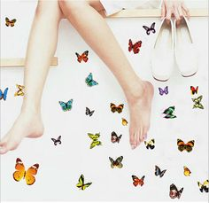81pc 3D Butterfly Wall sticker window sticker kid bedroom Home decor DIY Wallpaper Art Decals waterproof House Decoration LW0231