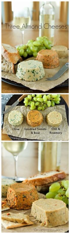 Three Almond Cheese Recipes: Chive, Sun-Dried Tomato & Basil, Chili & Rosemary - SO easy to make, and they chill within an hour!