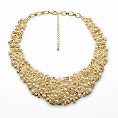 lyx urholka pärla blomma guldpläterad halsband (1 st)