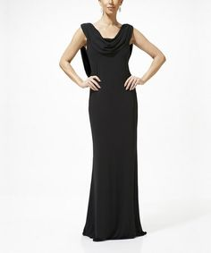 Black Cowl Neck Sleeveless Dress - Women by Nina Austin. Back is very cool- draping swag goes down to waist and back is lace. Love the tulip shaped skirt