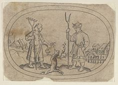 A Farmer and a Villager, from Das Bossenbüchlein Mathais Beitler  (German, Ansbach, active ca. 1582–1616) Publisher: Stephan Herman (active 1568–96) Date: ca. 1582 Medium: Engraving Dimensions: Sheet: 2 3/8 × 3 5/16 in. (6.1 × 8.4 cm) Classifications: Prints, Ornament & Architecture Credit Line: The Elisha Whittelsey Collection, The Elisha Whittelsey Fund, 1955 Accession Number: 55.503.18(4)
