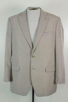 Ralph Lauren Chaps Mens 42L White Gray Check 2 Btn Blazer Jacket Sport Coat #RalphLaurenChaps #TwoButton