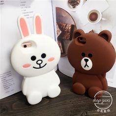 Barato Luxo 3d dos desenhos animados urso & coelho coelho macio capa de…