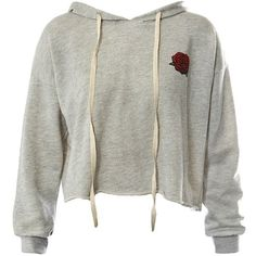 Sans Souci Grey rose print raw edge cropped hoodie ($34) ❤ liked on Polyvore featuring tops, hoodies, sweaters, shirts, grey, gray hoodie, grey cropped hoodie, gray hooded sweatshirt, crop top and grey shirt