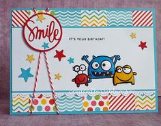 Monster Birthday card by Debby Yates - Paper Smooches -  We Adore You stamp set