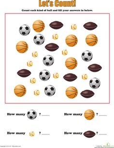Preschool Counting & Numbers Worksheets: Learning to Count: Sports Balls Worksheet- for the 4 year olds Creative Curriculum Preschool, Preschool Projects, Preschool Themes, Preschool Lessons, Preschool Classroom, Classroom Activities, Preschool Activities, Sports Activities, Toddler Classroom