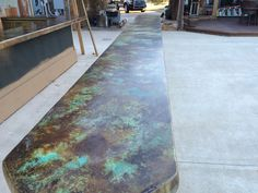 Concrete Countertop William B. Carlisle Design - One-of-a-Kind Acid Stained Concrete Countertop Design - Contact Brad Carlisle at William B Carlisle Design for One of a Kind Concrete Countertops and Floors. Attention to Detail and Fine Craftsmanship. Concrete Patios, Concrete Table, Concrete Bar Top, Concrete Kitchen, Concrete Projects, Backyard Projects, Diy Projects, Outdoor Kitchen Countertops, Outdoor Kitchen Bars