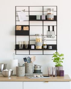The wire wall grid with three shelves and two hooks is perfect for decorative or practical purposes in your office or elsewhere in your… Home Furniture, Furniture Design, Interior Styling, Interior Design, Apartment Essentials, Shelf Design, Home Trends, Home Room Design, House Rooms