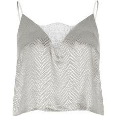 River Island Grey jacquard cami pyjama top (£16) ❤ liked on Polyvore featuring intimates, slimming cami, river island, slimming camisole, strappy cami and grey camisole