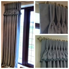 Bobble trim, valence topped hand pinched pleat French door curtains