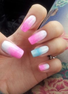 Pink, Blue and White Long Ombre Nails