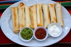 Shredded Chicken Flautas - on regular rotation at our house.  I use leftover rotisserie chicken & usually up the water to 1/2 - 3/4 cup.  I also heat the tortilla in the microwave for 10 seconds so they don't tear when rolled.