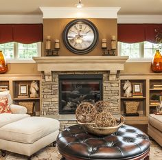 fireplace idea-- could put tv over mantle and then decorate the tops of bookshelves for the seasons.                                                                                                                                                      More