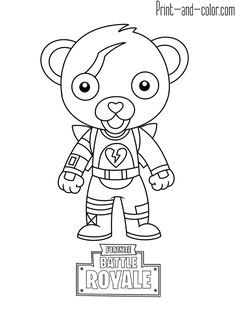 cute mini cuddle team leader fortnite coloring pages printable and coloring book to print for free. Find more coloring pages online for kids and adults of cute mini cuddle team leader fortnite coloring pages to print. Teddy Bear Coloring Pages, Coloring Pages For Boys, Coloring Pages To Print, Coloring Books, Easy Drawings For Kids, Drawing For Kids, Cute Drawings, Teddy Bear Drawing, Boy Drawing
