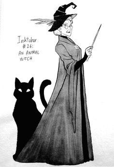 Inktober #26: an Animal Witch by fdevita.deviantart.com on @DeviantArt