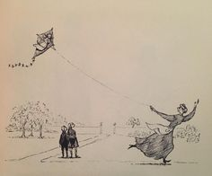 A nurse motivated by spite tied her infantine charge to a kite; she launched it with ease on the afternoon breeze and watched till it flew out of sight. #TheListingAttic #EdwardGorey by edwardgorey