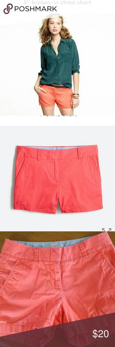 """J. Crew 3"""" Broken In Chino Shorts Adorable shorts in a bright orange color. No holes, stains, etc. Has the """"Broken in"""" feel. J. Crew Shorts"""