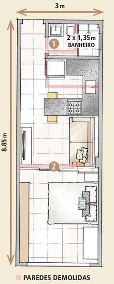 Menos divisórias e marcenaria planejada lideram a lista de boas ideias deste apartamento de 26,55 m²