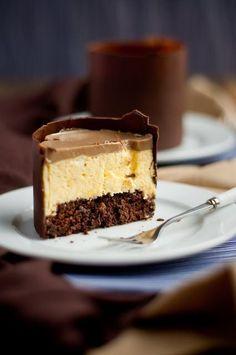 Mango Mousse Espresso Chocolate Cake with Espresso Jelly Topped Dome